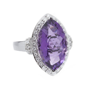 Diamond & Amethyst Gold Ring