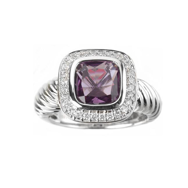 Amethyst Gemstone gold ring with diamond halo rope design