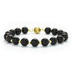 8mm Polished Black Onyx & 14K Gold Bracelet