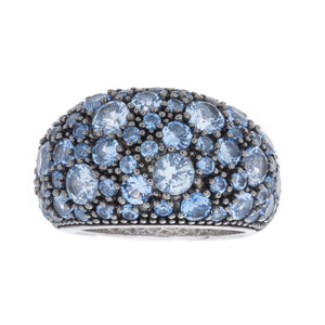 Rhodium Plated 925 Sterling Silver Fashion Ring With Blue Spinel Stones