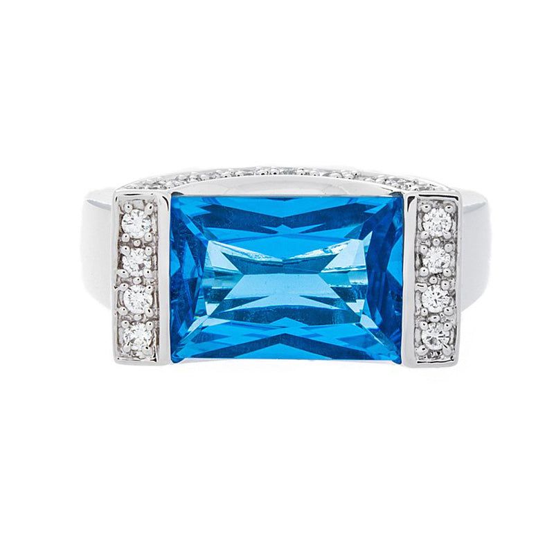 Diamond & Blue Topaz Gold Ring