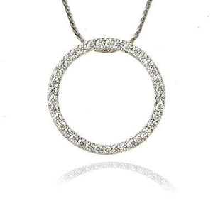 14K White Gold Circle Pave Diamond Pendant