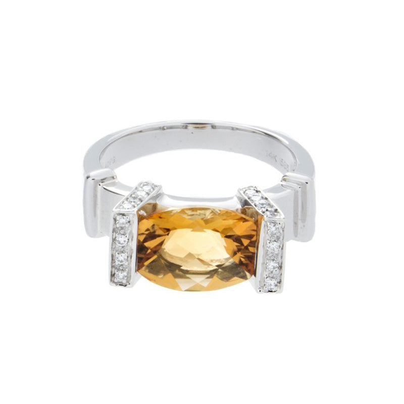 Diamond & Citrine Gold Ring