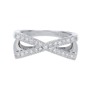 14K White Gold X Diamond Ring