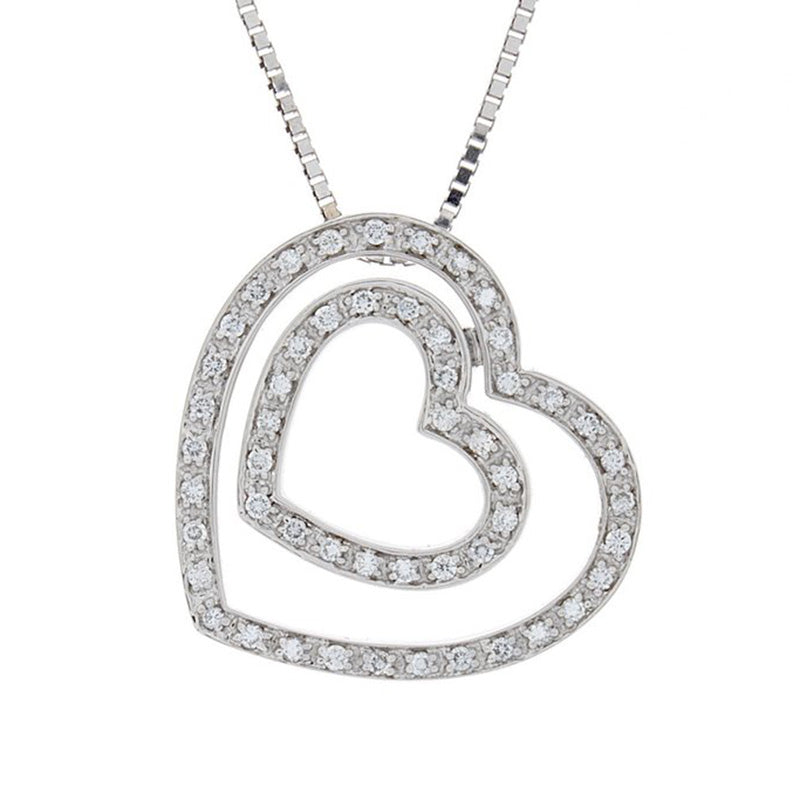 Diamond Double Heart Pendant