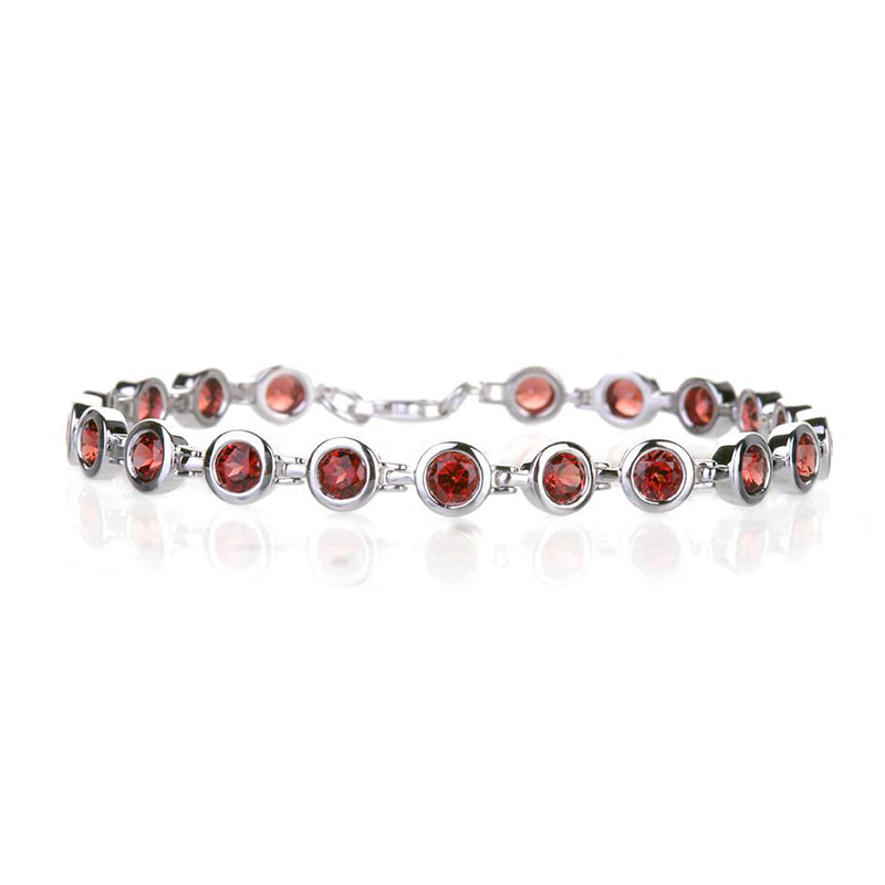 14k white gold bezel set garnet gemstone bracelet