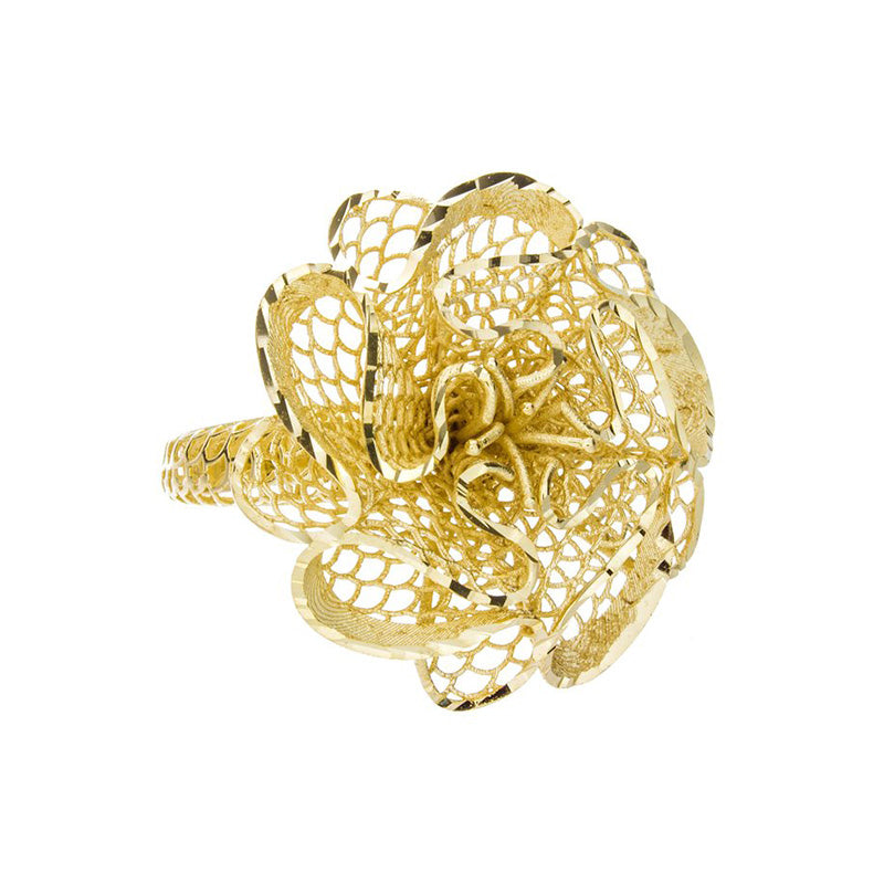 Yellow Gold Flower Ring