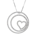 Diamond Double Circle Heart Pendant