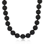 8mm Black Onyx Necklace with 925 Sterling Silver Clasp