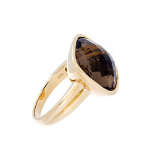 Yellow Gold Smoky Quartz Ring