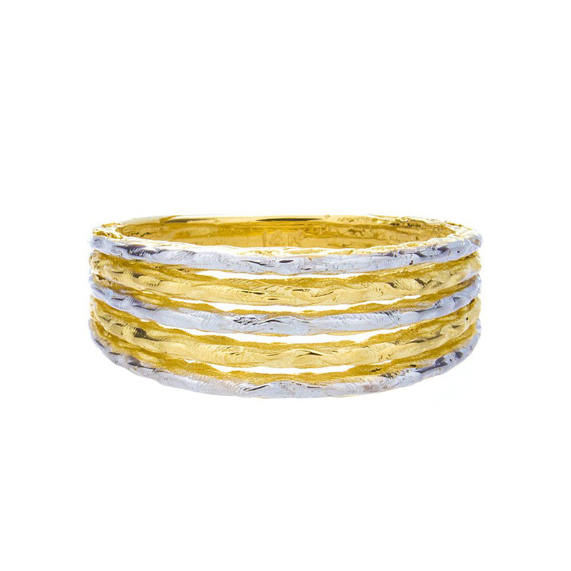 Two Tone Hammered Gold Ring