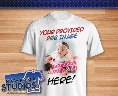 Custom Printed Tee Shirt - Your picture or full color image imprinted on quality cotton T-shirt