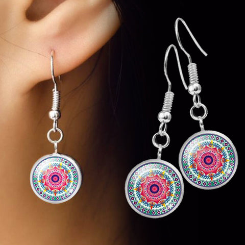 Lotus Mandala Dangle Earrings