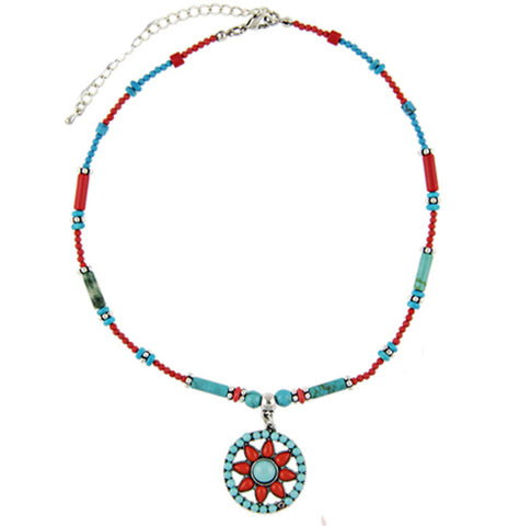 Boho Blue Sun Necklace
