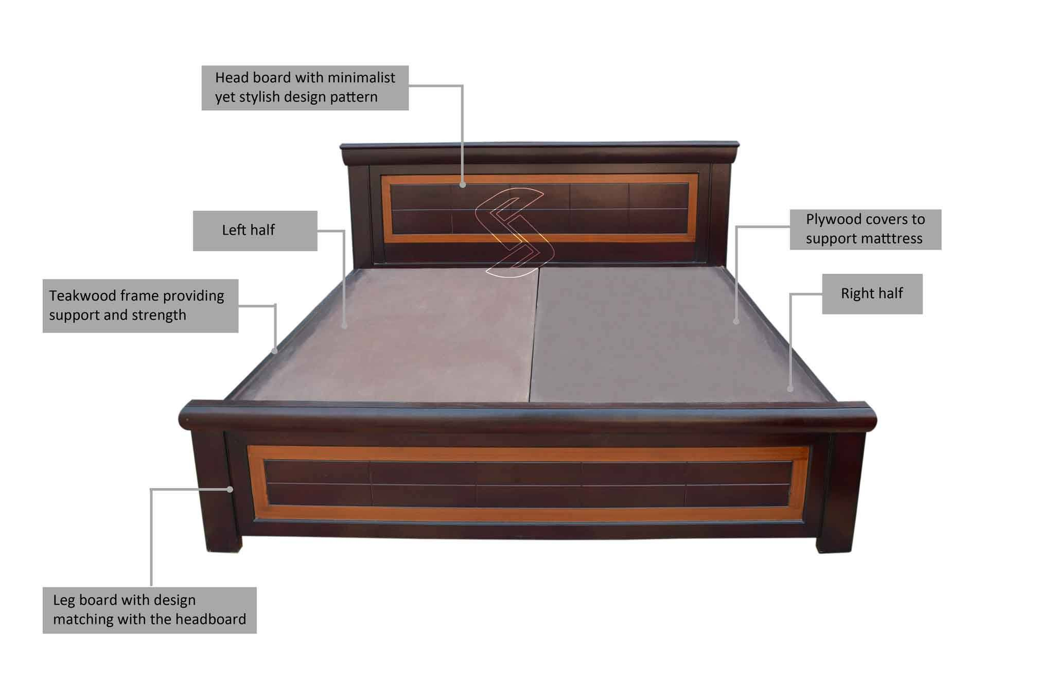 Picture of: Arizo King Bed Brown Beds Online In Hyderabad Sanfurn