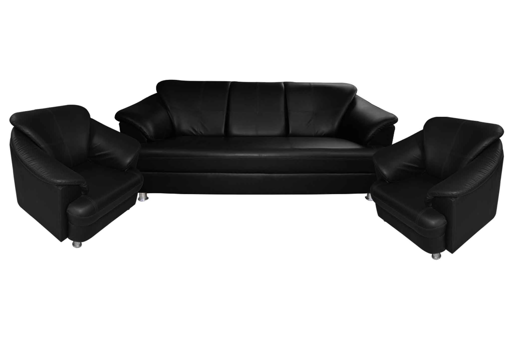 Fenton Leatherette 3+1+1 Sofa Set (Black)