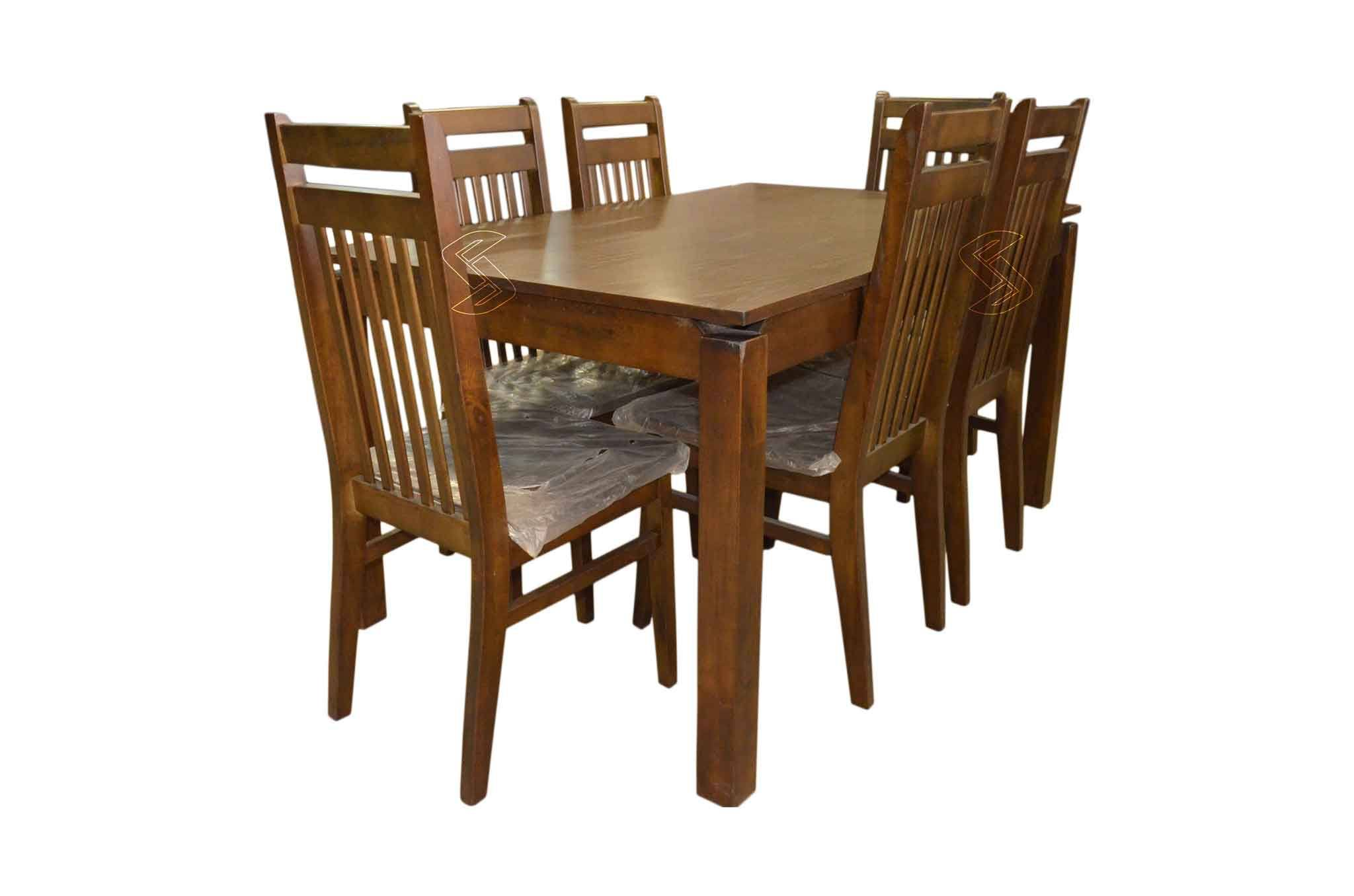 Taso 6 seater dining table set natural finish sanfurn for Dining table set 6 seater