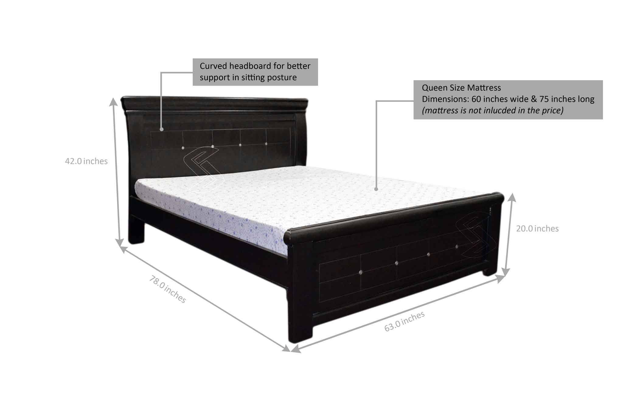 zordo queen bed (dark brown) - beds online in hyderabad - sanfurn