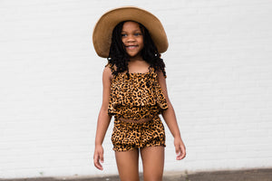 Bella high waisted shorts- Leopard - high quality handmade kids clothes - Brooklynn & Grey