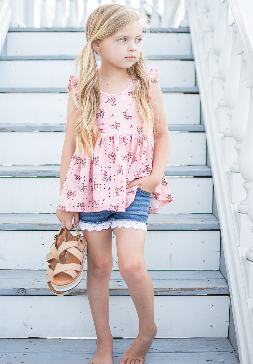 Flutter tie top-  Pink eyelet floral - high quality handmade kids clothes - Brooklynn & Grey