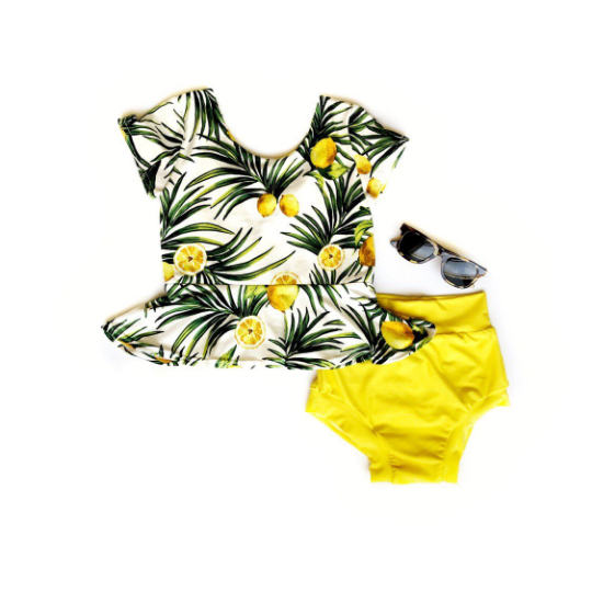 Ready to Ship Tropical Lemon peplum - high quality handmade kids clothes - Brooklynn & Grey