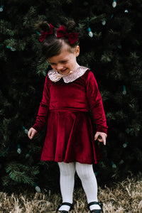 Velvet Burgandy Dress - high quality handmade kids clothes - Brooklynn & Grey