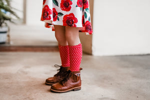 Red polka dot knee highs - high quality handmade kids clothes - Brooklynn & Grey