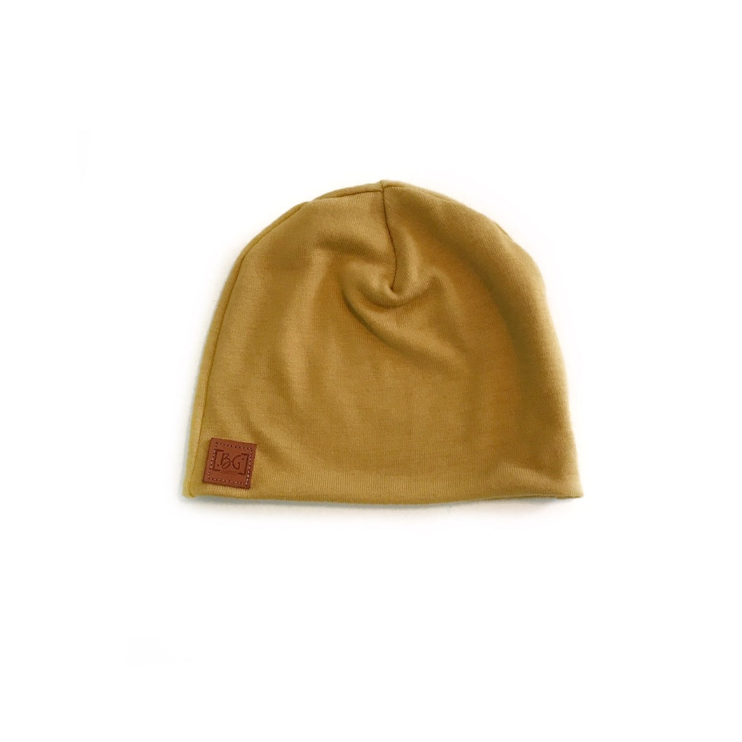 RTS Mustard slouch beanie - high quality handmade kids clothes - Brooklynn & Grey