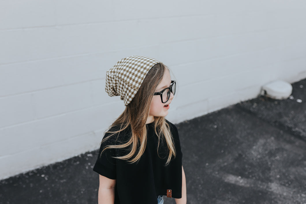 Slouch beanie - Olive small buffalo check - high quality handmade kids clothes - Brooklynn & Grey