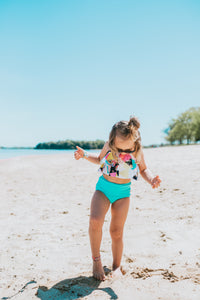 Turquoise high waisted swim bottoms - high quality handmade kids clothes - Brooklynn & Grey