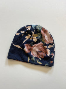 RTS heathered navy floral beanie