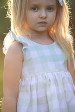 Flutter tie top- Sage large gingham - high quality handmade kids clothes - Brooklynn & Grey