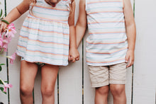 Ruffle peplum tank- Retro stripe rainbow - high quality handmade kids clothes - Brooklynn & Grey