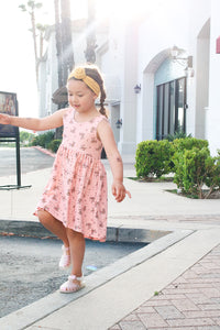 Hi/Low dress- Pink eyelet floral - high quality handmade kids clothes - Brooklynn & Grey