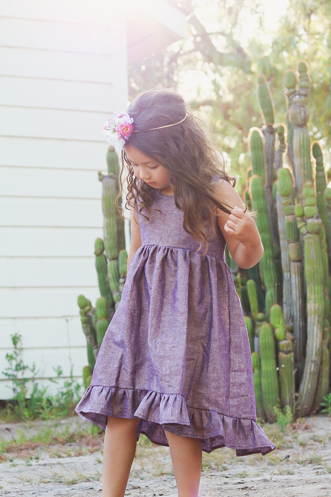 Hi/low Ruffle dress- Lilac - high quality handmade kids clothes - Brooklynn & Grey