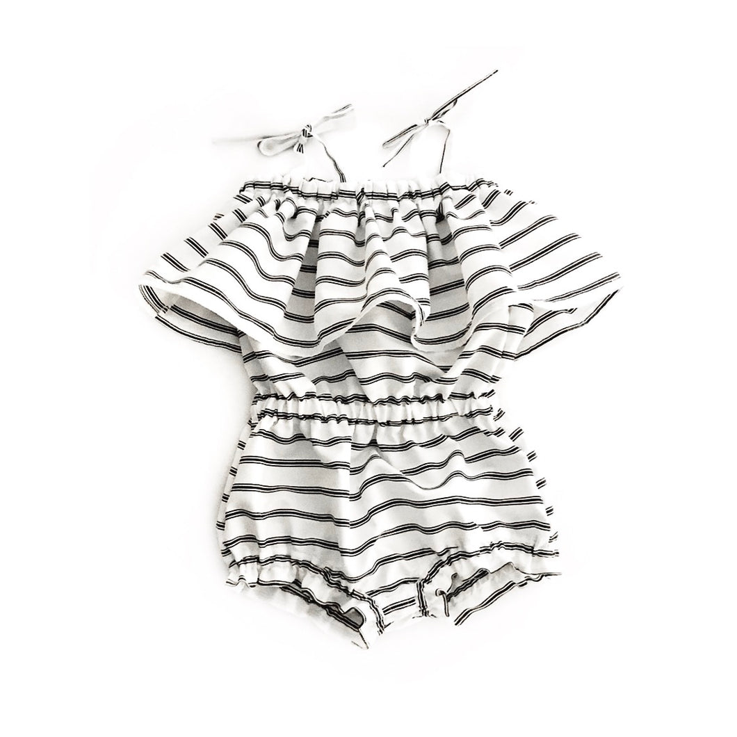 Bella Flowy Romper- Monochrome Stripes - high quality handmade kids clothes - Brooklynn & Grey