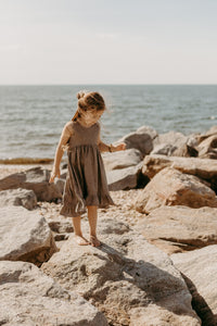 Hi/low Ruffle dress- Mocha - high quality handmade kids clothes - Brooklynn & Grey