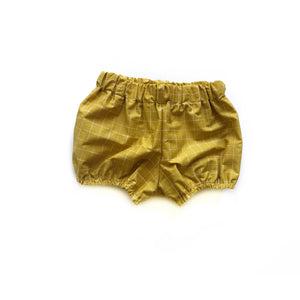 Mustard grid- Baby bloomer shorts - high quality handmade kids clothes - Brooklynn & Grey