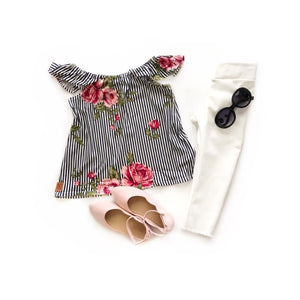 Striped floral Off Shoulder top - high quality handmade kids clothes - Brooklynn & Grey