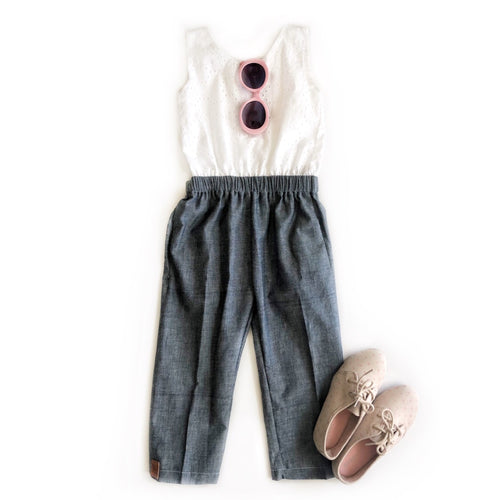 Chic City girl Romper- Eyelet - high quality handmade kids clothes - Brooklynn & Grey