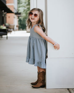 Hi/low Ruffle dress- Denim - high quality handmade kids clothes - Brooklynn & Grey