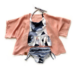 Geo ruffle peplum top - high quality handmade kids clothes - Brooklynn & Grey