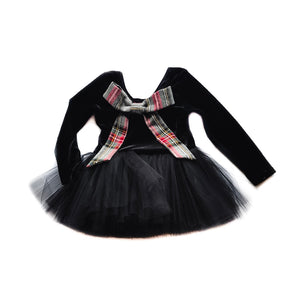 Jolie-Black Velvet Bow back
