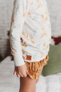 Gold floral pj top - high quality handmade kids clothes - Brooklynn & Grey