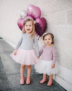 Jolie-Pleated Velvet- Pink/White tulle - high quality handmade kids clothes - Brooklynn & Grey