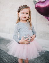 Jolie-Pleated Velvet- Grey/Pink tulle - high quality handmade kids clothes - Brooklynn & Grey