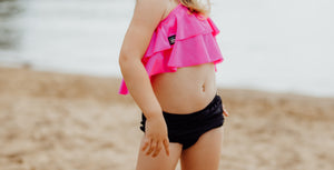 Hot Pink ruffle bikini top - high quality handmade kids clothes - Brooklynn & Grey