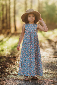 Maxi dress- denim blue floral - high quality handmade kids clothes - Brooklynn & Grey