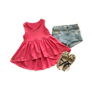 Coral- Hi Low Peplum - high quality handmade kids clothes - Brooklynn & Grey
