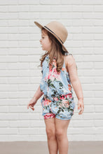 Sadie Romper- Blue spring floral - high quality handmade kids clothes - Brooklynn & Grey